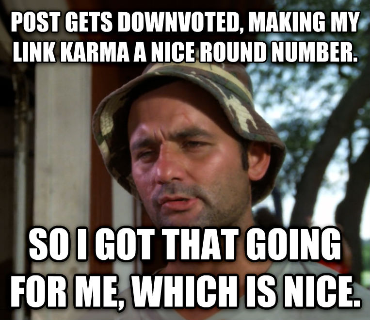 Bill Murray - So I Got That Going For Me, Which is Nice post gets downvoted, making my link karma a nice round number. so i got that going for me, which is nice. , made with livememe meme creator