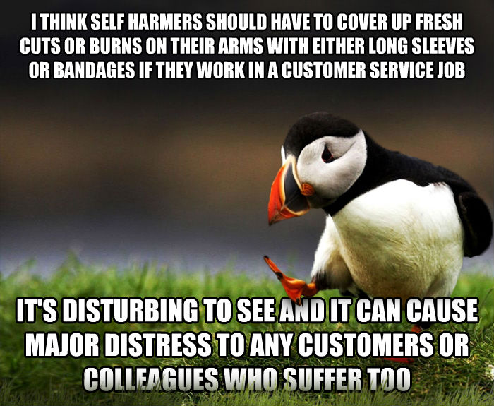 Unpopular Opinion Puffin i think self harmers should have to cover up fresh cuts or burns on their arms with either long sleeves or bandages if they work in a customer service job it s disturbing to see and it can cause major distress to any customers or colleagues who suffer too , made with livememe meme maker