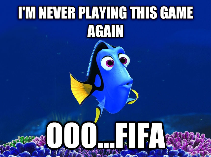 Forgetful Fish Dory i m never playing this game again ooo...fifa , made with livememe meme generator