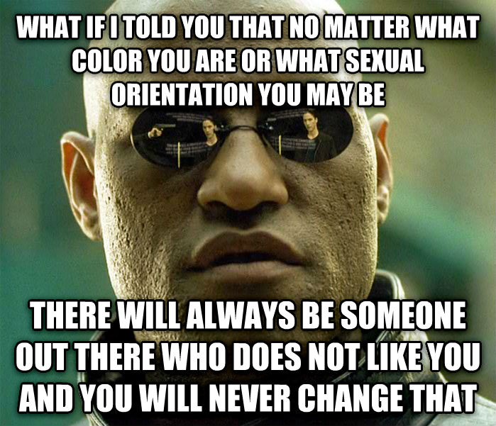 Matrix Morpheus what if i told you that no matter what color you are or what sensual orientation you may be there will always be someone out there who does not like you and you will never change that , made with livememe meme creator