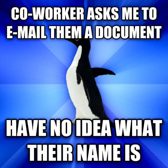Socially Awkward Penguin co-worker asks me to e-mail them a docoment have no idea what their name is  , made with livememe meme maker