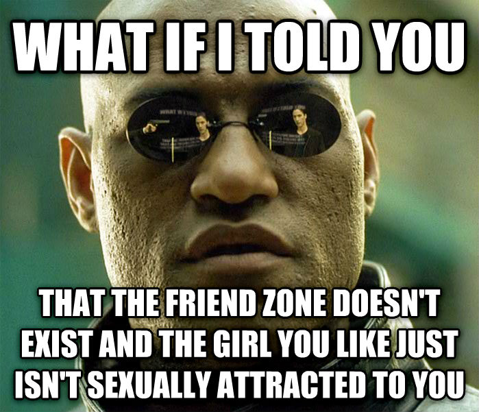 Matrix Morpheus what if i told you that the friend zone doesn t exist and the girl you like just isn t sensually attracted to you , made with livememe meme creator