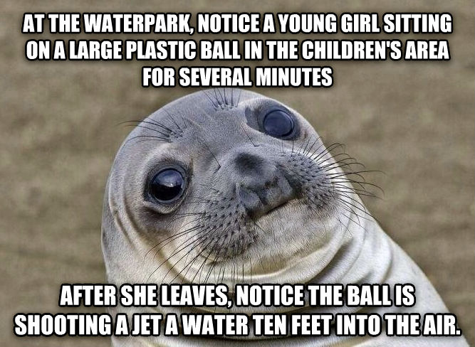 Uncomfortable Situation Seal at the waterpark, notice a young girl sitting on a large plastic ball in the children s area for several minutes after she leaves, notice the ball is shooting a jet a water ten feet into the air. , made with livememe meme maker