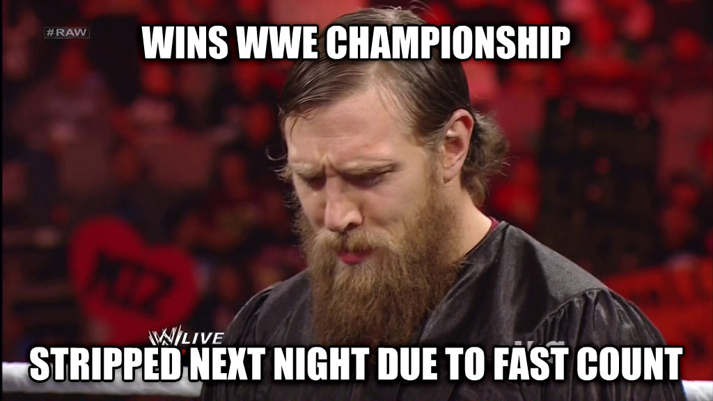 Bad Luck Bryan wins wwe championship stripped next night due to fast count , made with livememe meme maker