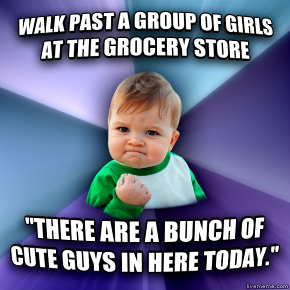 Success Kid walk past a group of girls at the grocery store  there are a bunch of cute guys in here today.   , made with livememe meme maker