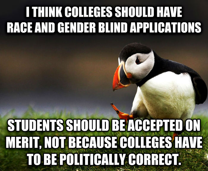 Unpopular Opinion Puffin i think colleges should have race and gender blind applications students should be accepted on merit, not because colleges have to be politically correct. , made with livememe meme generator