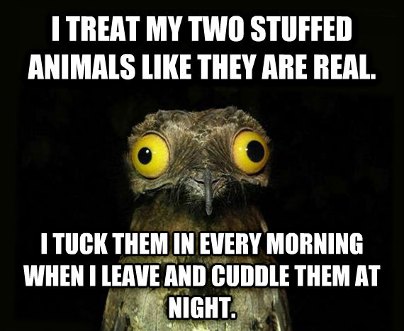 Weird Stuff I Do Potoo i treat my two stuffed animals like they are real. i tuck them in every morning when i leave and cuddle them at night. , made with livememe meme maker
