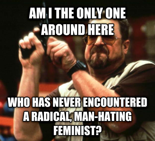 Angry Walter am i the only one around here who has never encountered a radical, man-hating feminist? , made with livememe meme maker