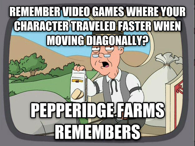 Pepperidge Farm Remembers remember video games where your character traveled faster when moving diagonally? pepperidge farms remembers , made with livememe meme generator