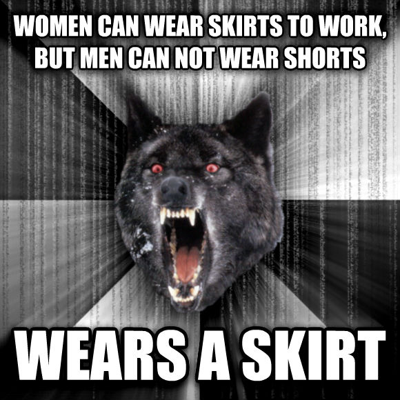 Insanity Wolf women can wear skirts to work, but men can not wear shorts wears a skirt  , made with livememe meme generator