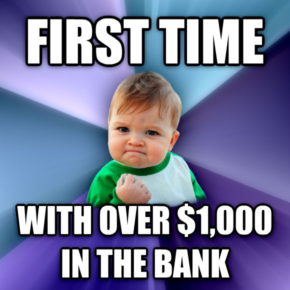Success Kid first time with over $1,000 in the bank  , made with livememe meme generator