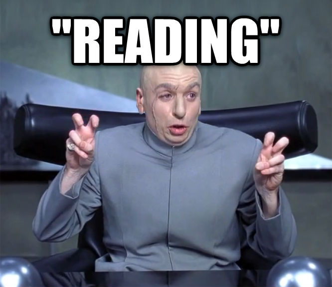 Dr. Evil  Quotation Marks   reading   , made with livememe meme maker