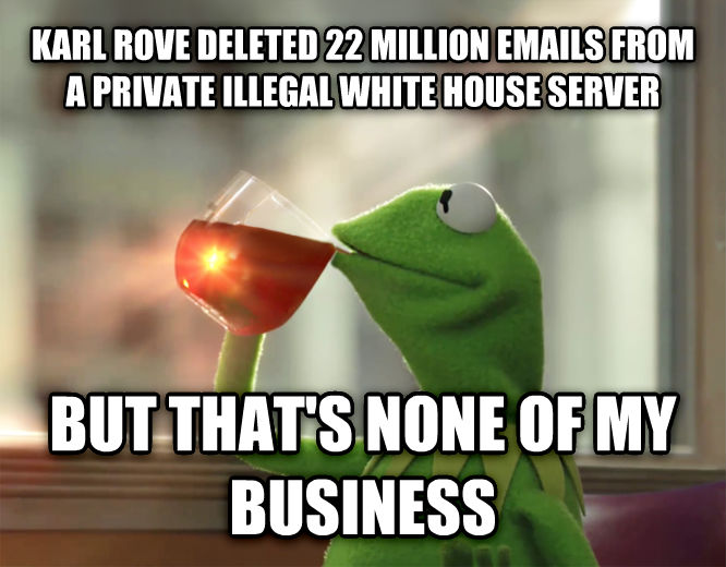 Kermit the Frog - But That s None Of My Business karl rove deleted 22 million emails from a private illegal white house server but that s none of my business , made with livememe meme generator