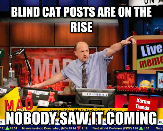 Mad Karma with Jim Cramer blind cat posts are on the rise nobody saw it coming , made with livememe meme creator