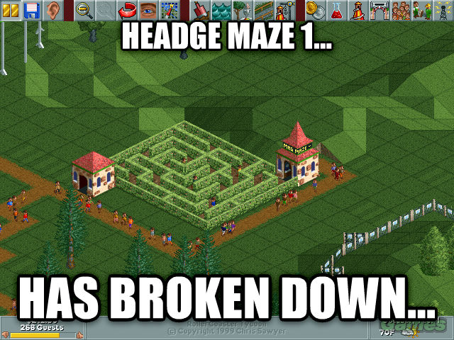 Roller Coaster Tycoon Logic headge maze 1... has broken down... , made with livememe meme generator